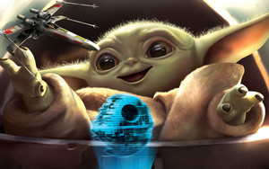 Preview wallpaper Baby Yoda, Death, Star Star Wars, X-Wing