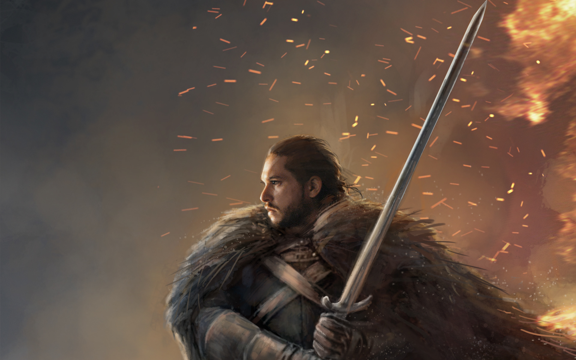 Wallpaper Of Game Of Thrones Jon Snow Sword Warrior Art