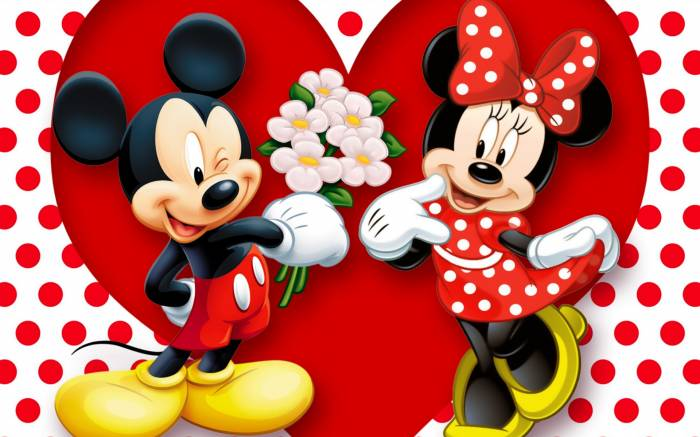 HD Wallpaper of Mickey Mouse, Minnie Mouse
