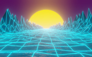 Preview wallpaper of Grid, Mountain, Retrowave, Road, Synthwave