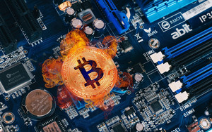 Preview wallpaper Bitcoin, Coin, Cryptocurrency, Motherboard