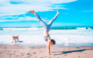 Preview wallpaper of Handstand, Beach, Yoga