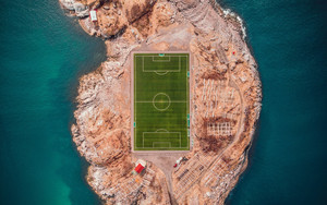 Preview wallpaper  Football <b>field</b>, Norway, Island, Top view