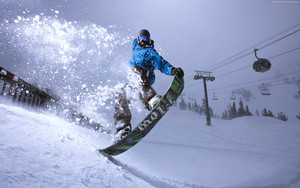 Preview wallpaper of Snowboarding, Winter, Jump, Snow, Ropeway
