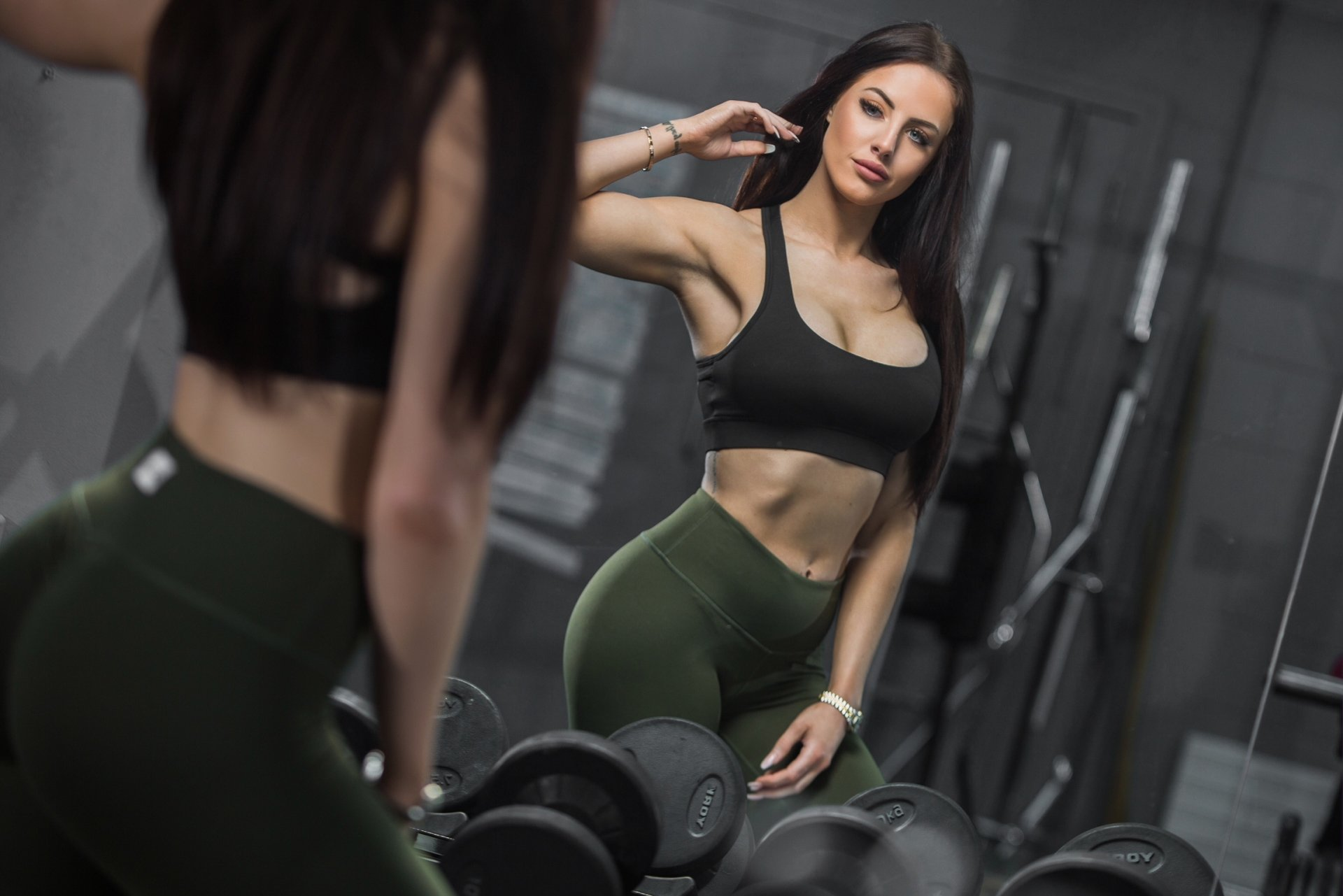 Wallpaper Black Hair Fitness Girl Long Model Woman Desktop