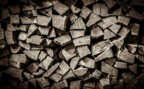 Смотреть обои Pile of Wood, black and white, wood