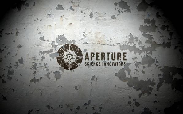 Обои aperture science, wall, peeling paint