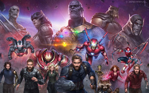 Смотреть обои Avengers Infinity War, All heroes, Marvel