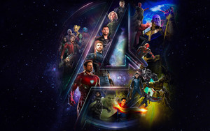 Смотреть обои Avengers Infinity War, Space, All heroes