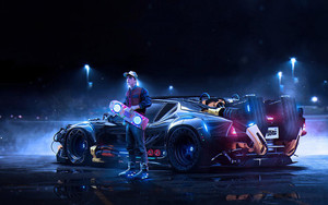 Смотреть обои Back To The Future, DeLorean, Marty McFly