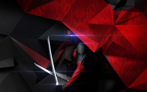 Preview wallpaper Movie, Deadpool, Katana, Abstract, Triangles