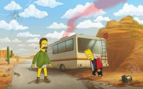 Смотреть обои Breaking Bad, Simpsons, Ned Flanders, Bart Simpson