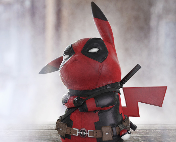HD Wallpaper Crossover, Pikachupool, DeadPool, Marvel, Pikachu