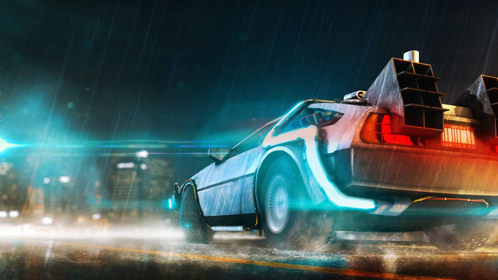 HD Wallpaper of Back to the Future, DeLorean DMC-12, Art