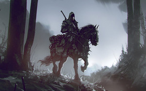 Preview wallpaper Horse, Warrior, Dark, Trees, Fantasy