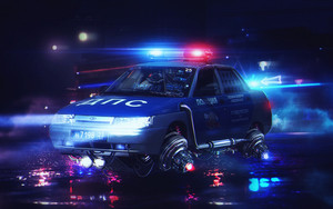 Preview wallpaper of Car, Cyberpunk, Futuristic, Police
