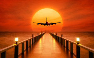 Смотреть обои Aircraft, Sunset, Wharf, Photoshop