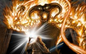 Смотреть обои The Lord of the Rings, Moria, Gandalf, Balrog