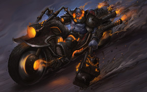 Preview wallpaper of Hammer, Motorcycle, Orc, Fantasy