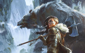 Preview wallpaper of Bear, Fantasy, Women Warrior