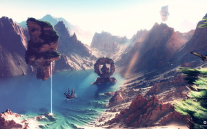 Preview wallpaper of lake, Mountains, levitation, day, Fantasy