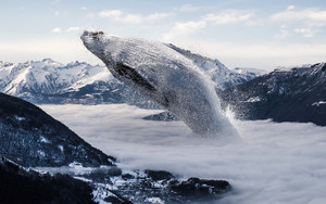 Preview wallpaper Whale, Fantasy, Animal, Mountains
