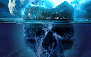 Preview wallpaper of Island, Skull, Fantasy, Ocean, Moon