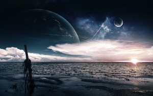 Preview wallpaper of ocean, sky, waves, Fantasy, planets