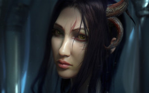 Preview wallpaper of Demon, Face, Girl, Green Eyes, Horns, Woman