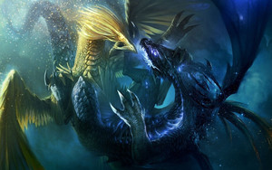 Preview wallpaper of fantasy, yellow, blue, dragons