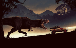 Preview wallpaper of Car, Dinosaur, Jurassic Park, Tyrannosaurus Rex