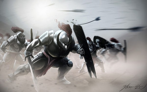 Preview wallpaper of Armor, Fight, Helmet, Knight, Shield, Sword