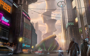 Preview wallpaper of Building, City, Cyberpunk, Futuristic