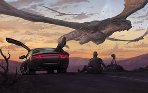 Смотреть обои Art, Camera, Car, Dragon, Fantasy, People