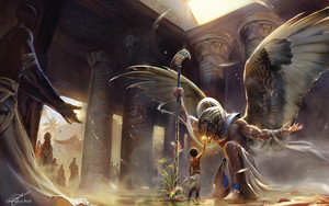 Preview wallpaper of Boy, Columns, Egypt, Horus, Temple, Wings