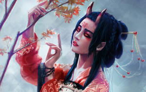 Preview wallpaper of Black Hair, Demon, Girl, Horns, Lipstick, Oriental