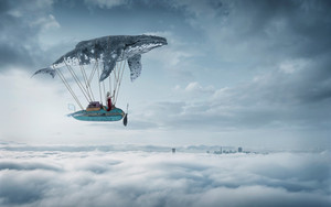 Смотреть обои Cloud, Girl, Sky, Vehicle, Whale, Woman
