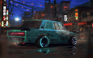 Preview wallpaper of Cyberpunk, Vehicles, Car,  Lada, Zhigul, Art