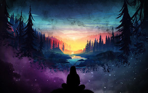 Preview wallpaper of Landscape, Forest, Night