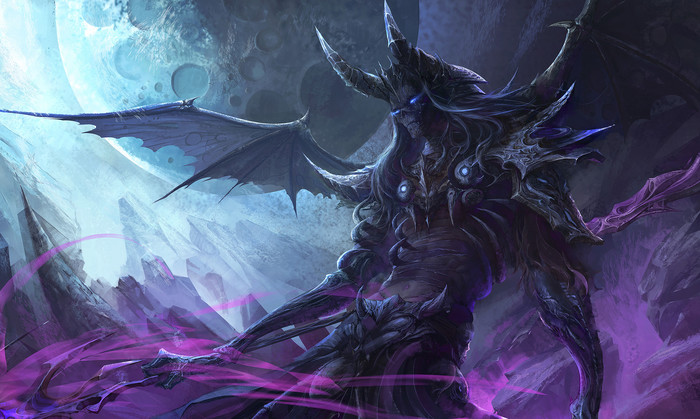 Wallpaper of Demon, Fantasy, Horns, Moon, Wings background & HD image