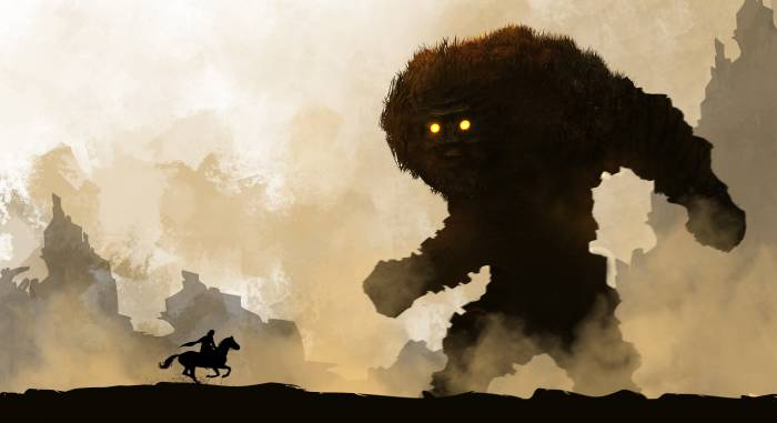 HD Wallpaper of Shadow of the Colossus, воин, чудовище