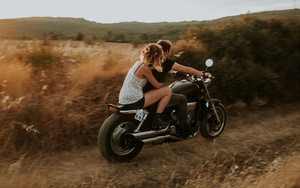 Preview wallpaper Couple, Motorcycle, Love