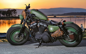 Preview wallpaper green, harley davidson, lake