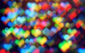 Preview wallpaper hearts, colorful, bokeh, abstract