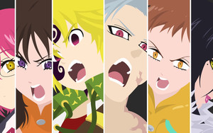 Preview wallpaper of Ban,  Diane, Gowther, King, Meliodas, Merlin