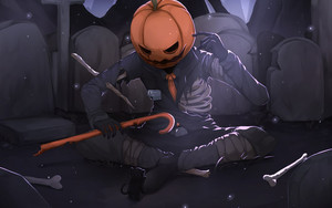Preview wallpaper of Halloween, Pumpkinhead, Skeleton