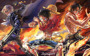 Смотреть обои Anime, Flame Monkey, D. Luffy, One Piece