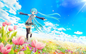 Preview wallpaper Anime, girl, sky, field
