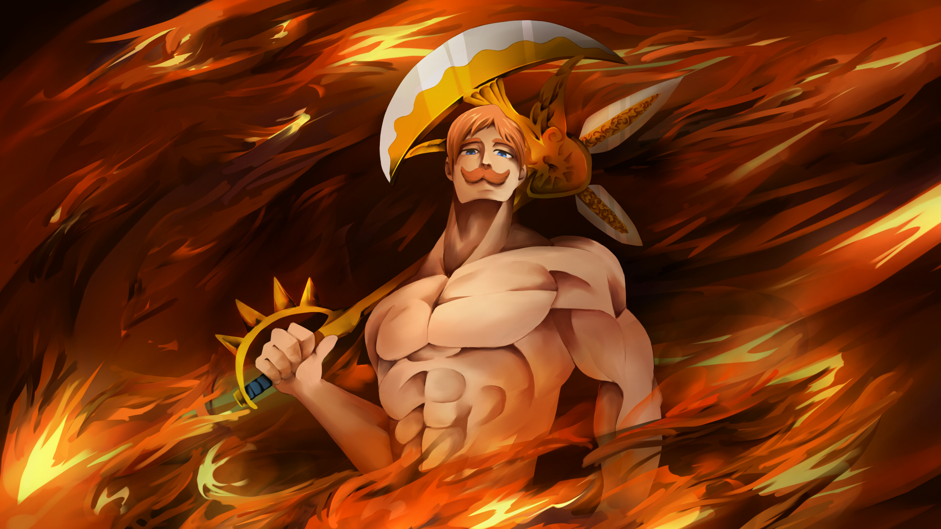Wallpaper Of Escanor The Seven Deadly Sins Art Fire Background