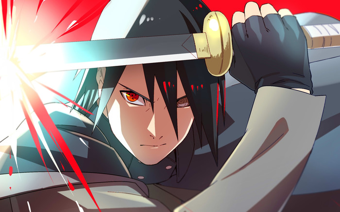 HD Wallpaper of Sasuke Uchiha, Katana, Sharingan, Rinnegan